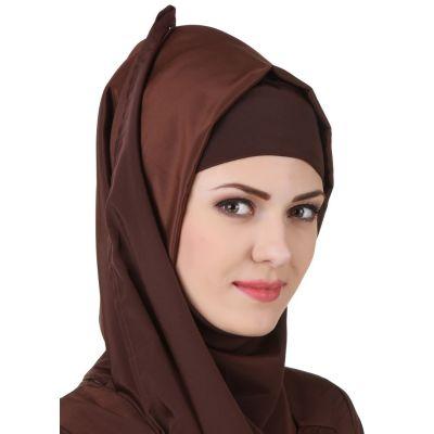 Brown color Designer-Crepe Hijab