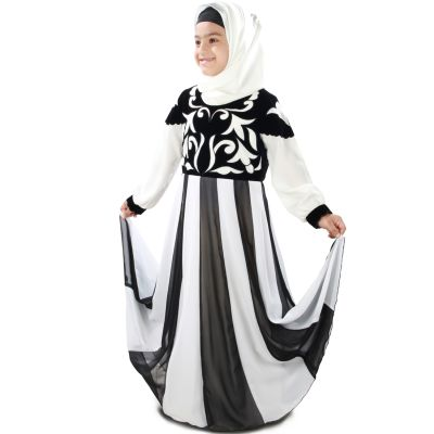 Off White and Black color Kid's-Crepe Kid's Abaya