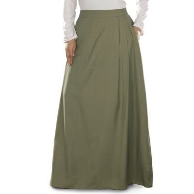 Green color Skirt-Rayon Skirt