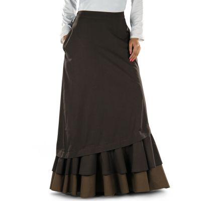 Brown color Skirt-Poplin Skirt