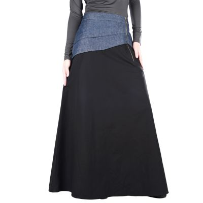 Black and Blue color Skirt-Denim Skirt