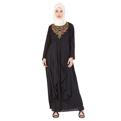 Womens Abaya Black Color Embroidery wear