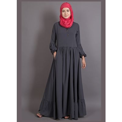 Womens Abaya Grey Color Casual wear