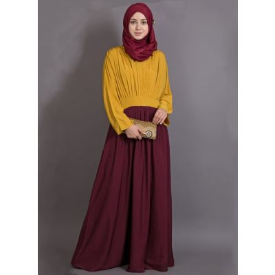 Womens Abaya Yellow & Maroon Color Modest