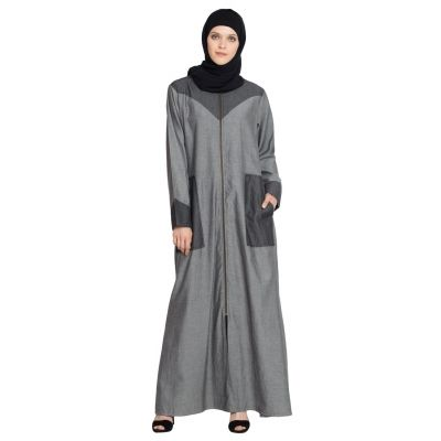 Womens Abaya Grey & Black Color Casual wear