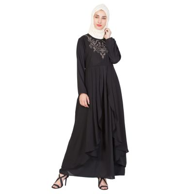 Womens Abaya Black & Grey Color Embroidery wear