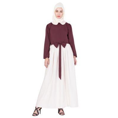 Womens Abaya Maroon & Cream Color Attractive
