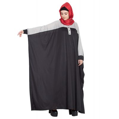Womens Abaya Grey & Black Color Daily wear