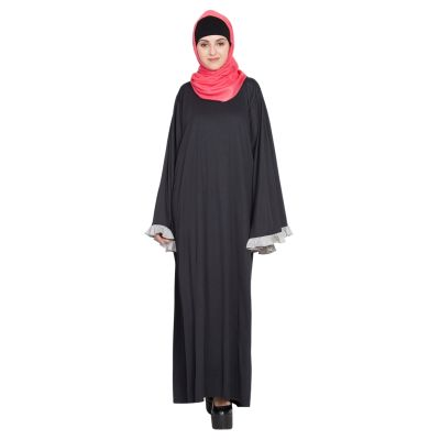 Womens Abaya Black & Grey Color Fancy