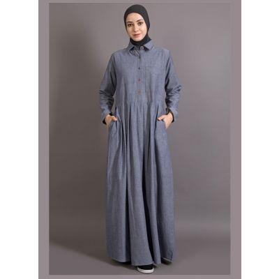 Blue Color shirt collar executive  Abaya