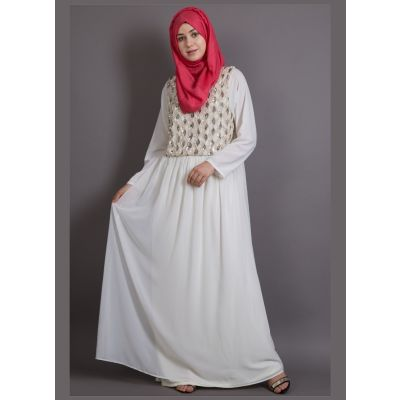 Womens Abaya Off White Color Embroidery wear