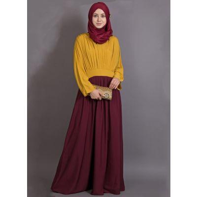 Womens Abaya Yellow & Maroon Color Modest