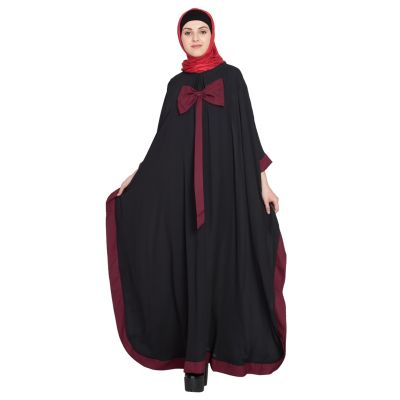 Womens Abaya Black  & Maroon Color Casual wear