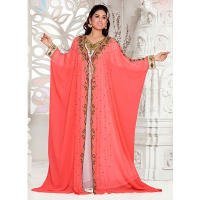 Orange color-Georgette Kaftan