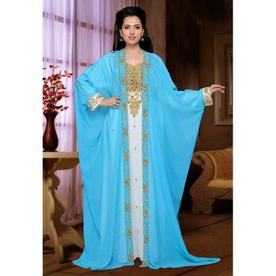Blue and White color Designer-Georgette Kaftan