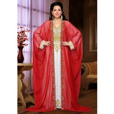 Red and white color Designer-Georgette Kaftan