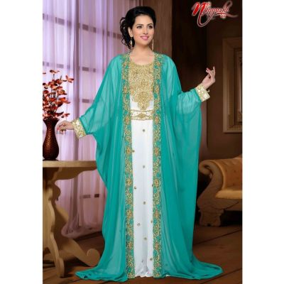 Green and White color Designer-Georgette Kaftan