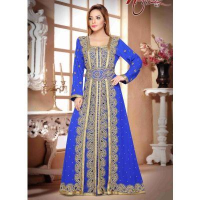 Captivating Blue Color Faux Georgette Moroccan Kaftan