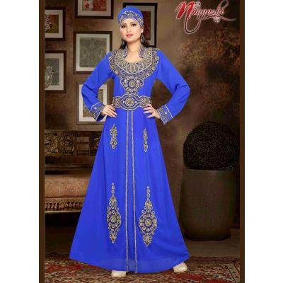 Trendy Blue Color Faux Georgette Fashionable Kaftan