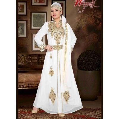 Classy Off White Color Faux Georgette Fancy Kaftan