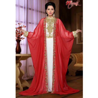 Attractive Red & white Color  Long Kaftan Dresses