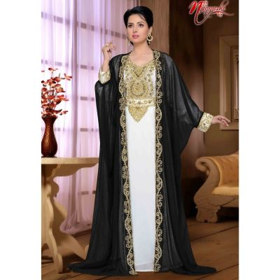 Flashy Black & white Color Faux Georgette Stylish Full Sleeves Caftan