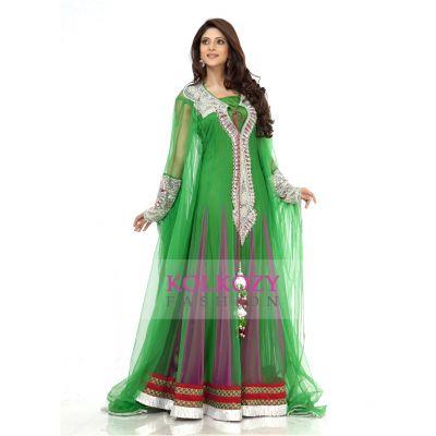 Fancy Green Embroidered Arabic Wedding Kaftan