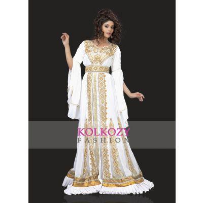 Unique White & Gold Embroidered Designer Caftan
