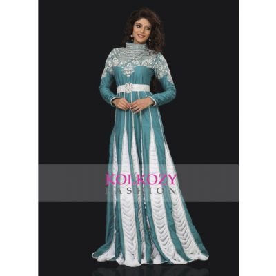 Exquisite Cyan Blue Embroidered Kaftan