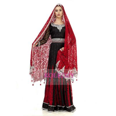 Elegant Black & Red Wedding Designer Kaftan