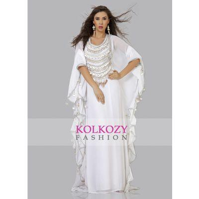Glamorous White Arabian Designer Kaftan