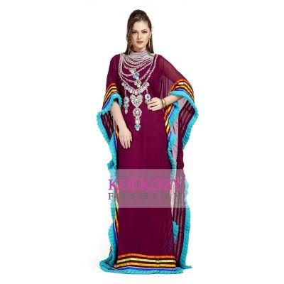 Trendy Beautiful Gulf Trend Maroon Kaftan