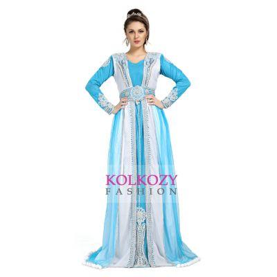 Designer Gorgeous Blue & White Moroccan Caftans