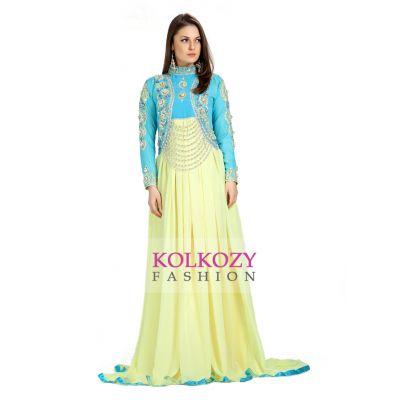 Designer Gulf Designer Yellow & Blue Embroidered Exclusive Kaftans
