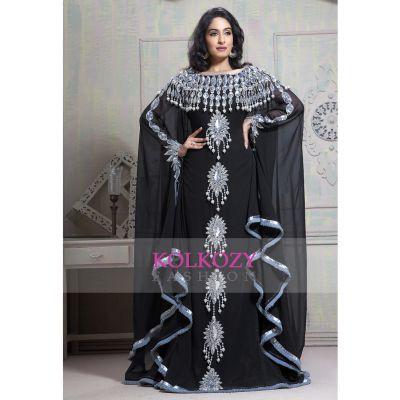 Fancy Black color Georgette Plussize Islamic wedding kaftan