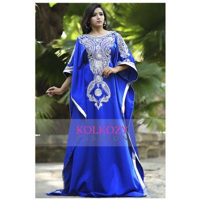 Blue Color Modern Silk Arabic Kaftan - One Size