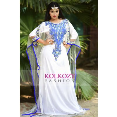Gorgeous White Color Embroidered Net Kaftan Dress - Free Size