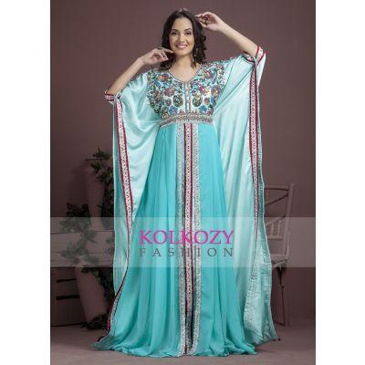 Aqua Blue color partywear Kaftan-Georgette Kaftan