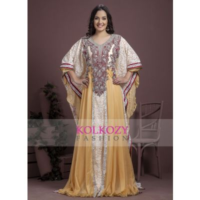 Off White and Maroon color Kaftan-Georgette Kaftan