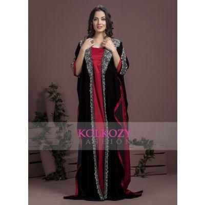 Black and Maroon color Kaftan-Velvet Kaftan