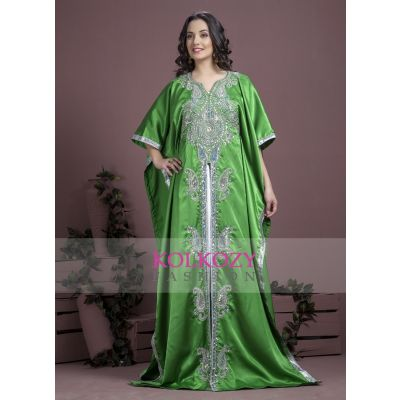 Green color Kaftan-Satin Kaftan