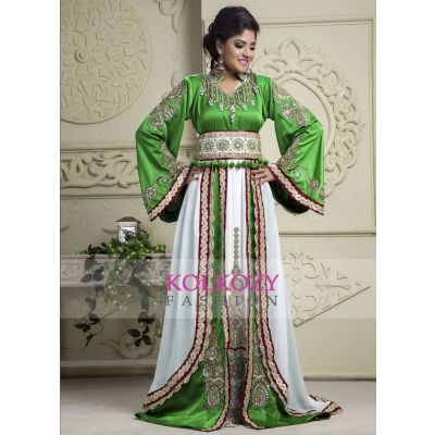 Green and Off White color Kaftan-Crepe Kaftan