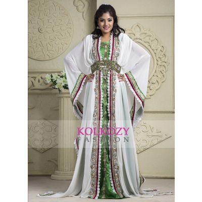 White and Green color Kaftan-Crepe Kaftan
