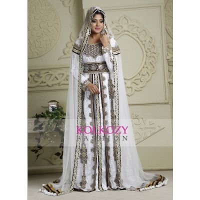 Brown and White color Kaftan-Crepe Kaftan with Veil