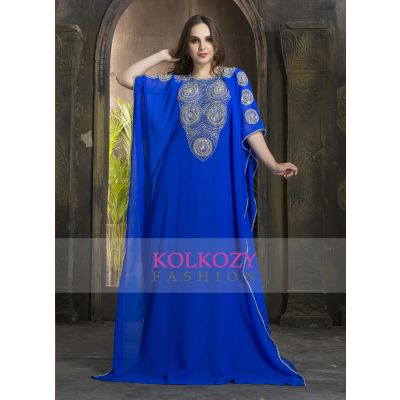 Exquisite Light Blue Traditional Handmade kaftan