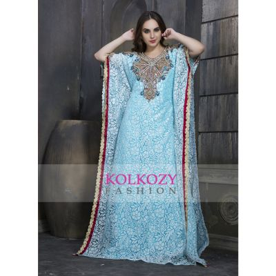 Blue Colored Self printed Designer Hand beaded Caftan