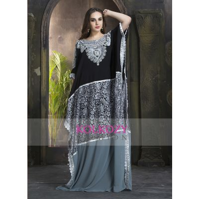 Black & Gray 100% Handmade Fashionable Multi Color Kaftan