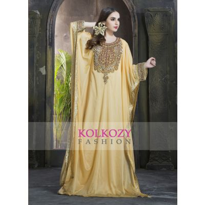 Gold color Stylish and Awesome Handmade kaftan