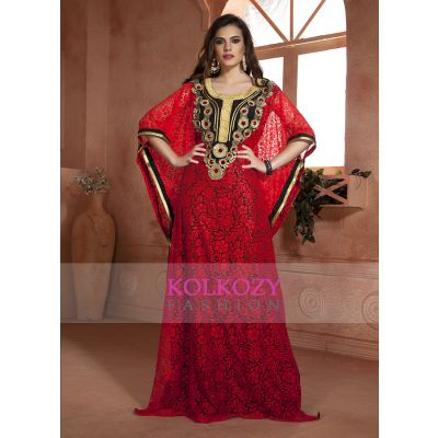 Red and Black color Net Brasso Thread Work Arab Dubai Style kaftan