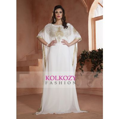 White color Kaftan Dress-Georgette Hand beaded Designer Kaftan